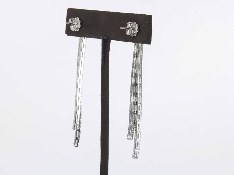 Contemporary Diamond Line Dangle Earrings For Sale 1
