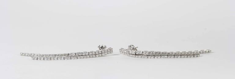 Contemporary Diamond Line Dangle Earrings For Sale 2