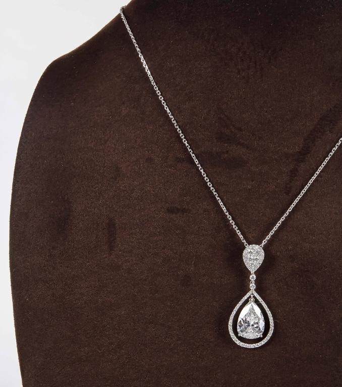 Over 5 carat gia certified pear shape diamond pendant for sale at over 5 carat gia certified pear shape diamond pendant in excellent condition for sale in new aloadofball Gallery