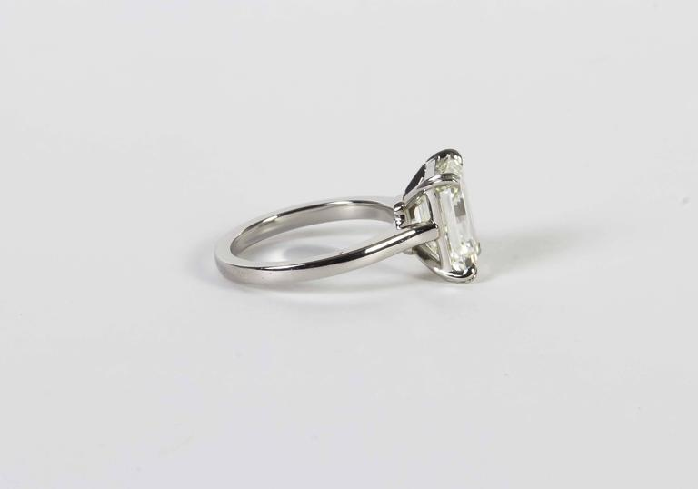 Elegant 4.26 Carat GIA Cert Emerald Cut Diamond Solitaire Engagement Ring In New Condition For Sale In New York, NY