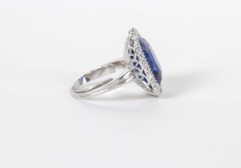 Cushion Cut Rare GIA Certified 15 Carat Burma No Heat Natural Sapphire Ring For Sale