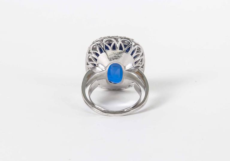 Rare GIA Certified 15 Carat Burma No Heat Natural Sapphire Ring In New Condition For Sale In New York, NY