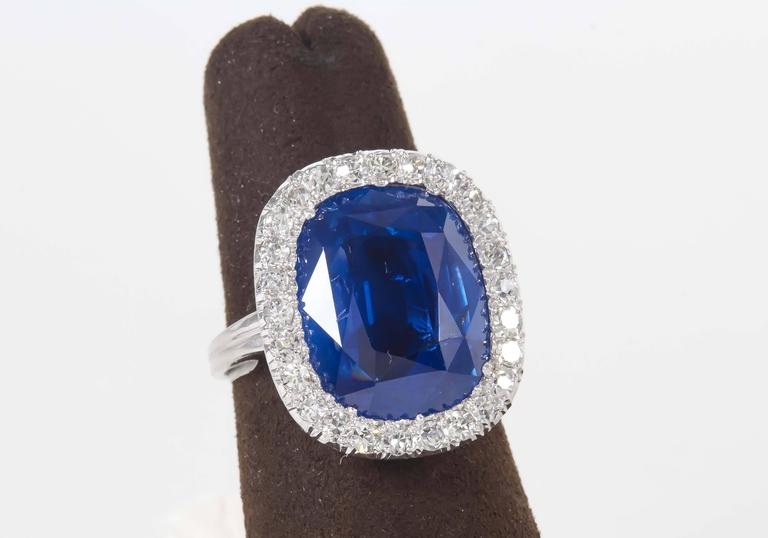 Rare GIA Certified 15 Carat Burma No Heat Natural Sapphire Ring For Sale 1