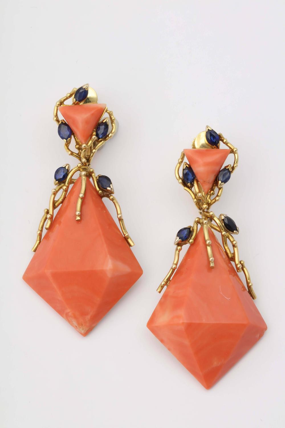 1960s Triangular Cut Faceted Coral Sapphire Gold Drop ...