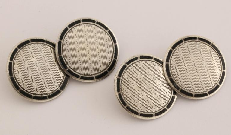 American Art Deco Sterling Silver and Black Guilloche Enamel Cufflinks In New Condition For Sale In New York, NY