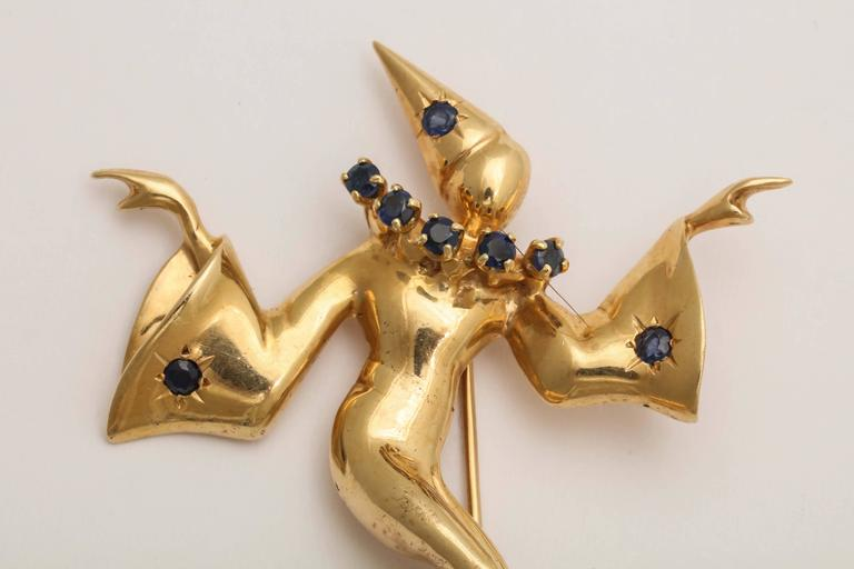 Sapphire Gold Harlequin Brooch  6