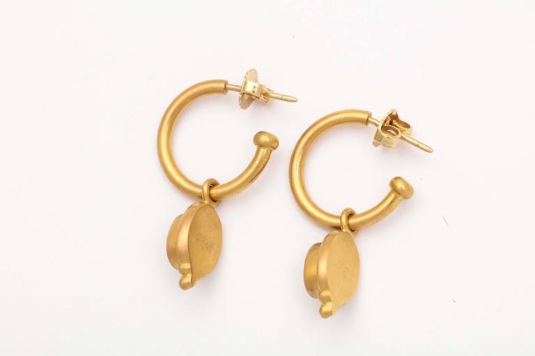 Classical Greek Reinstein/Ross Gold Hoop Earrings with Removable Topaz Drops For Sale