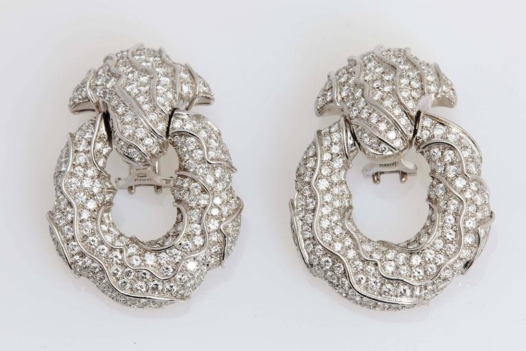 Women's 1980s Jahan Diamond Gold Ear Pendants  For Sale