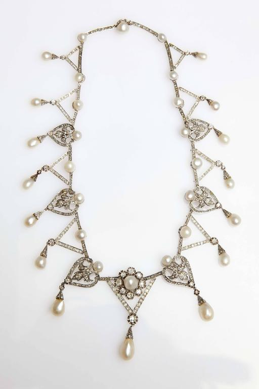 1910s Important Antique Natural Pearl Diamond Platinum  Necklace  In Good Condition For Sale In New York, NY