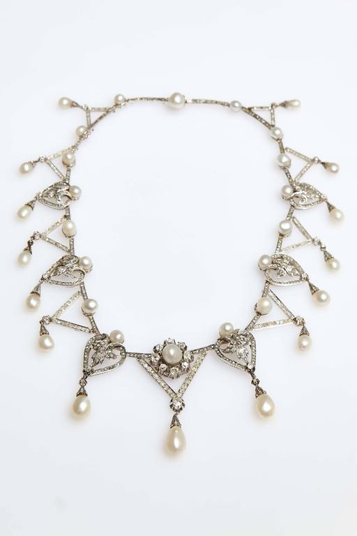 Women's 1910s Important Antique Natural Pearl Diamond Platinum  Necklace  For Sale