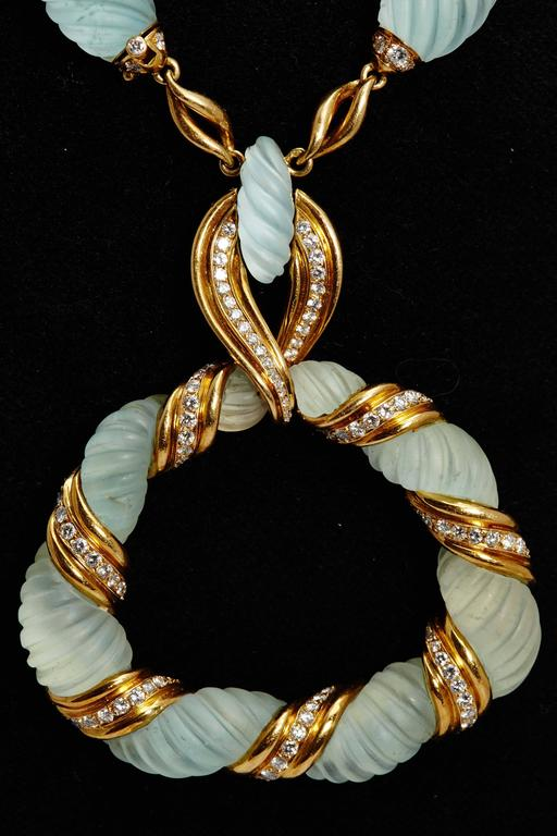 Frosted Aquamarine Diamond Gold Necklace  In Excellent Condition For Sale In New York, NY