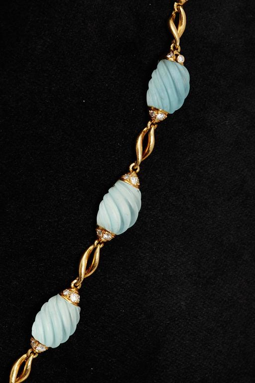 Women's Frosted Aquamarine Diamond Gold Necklace  For Sale