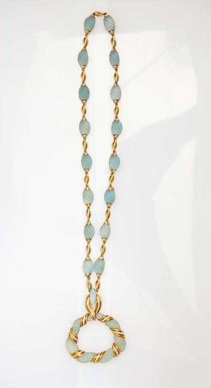 Frosted Aquamarine Diamond Gold Necklace  For Sale 1