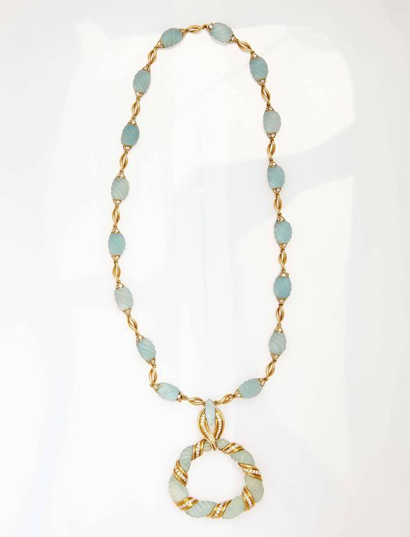 Frosted Aquamarine Diamond Gold Necklace  For Sale 2
