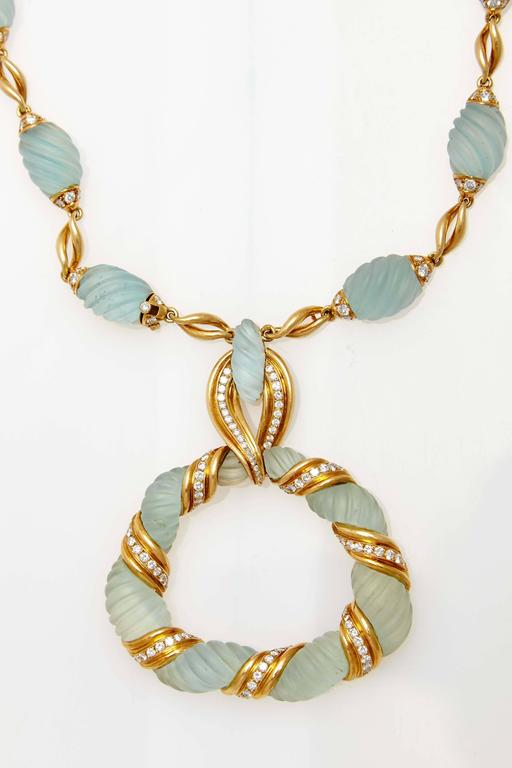 Frosted Aquamarine Diamond Gold Necklace  For Sale 3