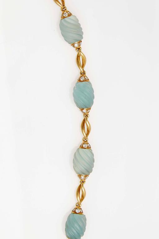 Frosted Aquamarine Diamond Gold Necklace  For Sale 4
