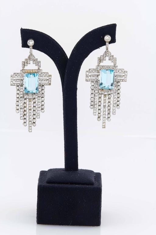Aquamarine  Diamond Accent Necklace Ring  Earring set  In Excellent Condition For Sale In New York, NY