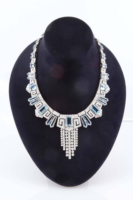 Aquamarine  Diamond Accent Necklace Ring  Earring set  For Sale 1