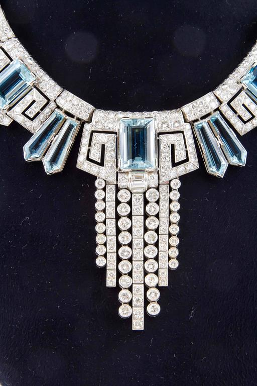 Aquamarine  Diamond Accent Necklace Ring  Earring set  For Sale 2