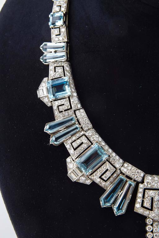 Aquamarine  Diamond Accent Necklace Ring  Earring set  For Sale 3