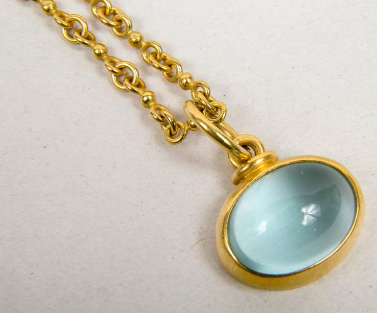 Denis Betesh Single Ball Chain And Green Moonstone Pendant  2
