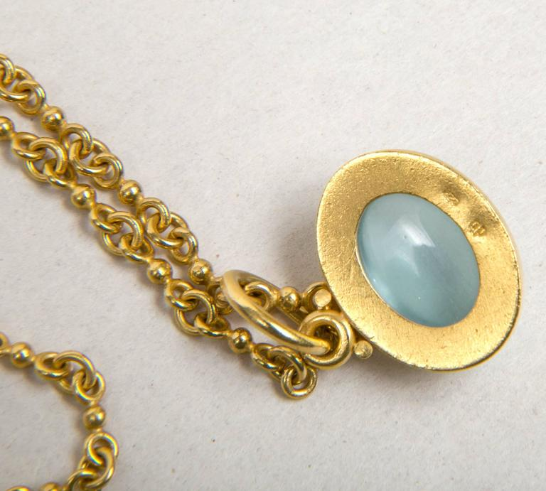 Denis Betesh Single Ball Chain And Green Moonstone Pendant  6