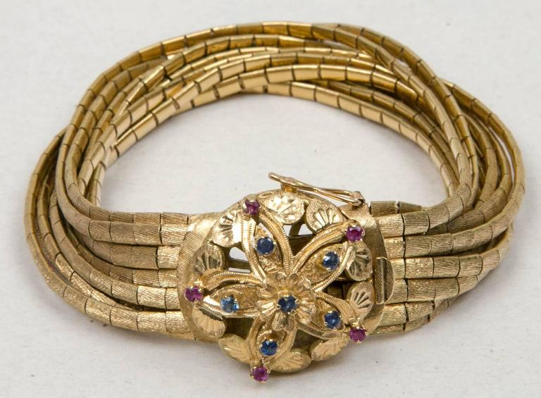 Ca. 1950's 18K  Yellow Gold Sapphire And Ruby Bracelet  6