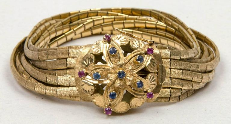 Ca. 1950's 18K  Yellow Gold Sapphire And Ruby Bracelet  7