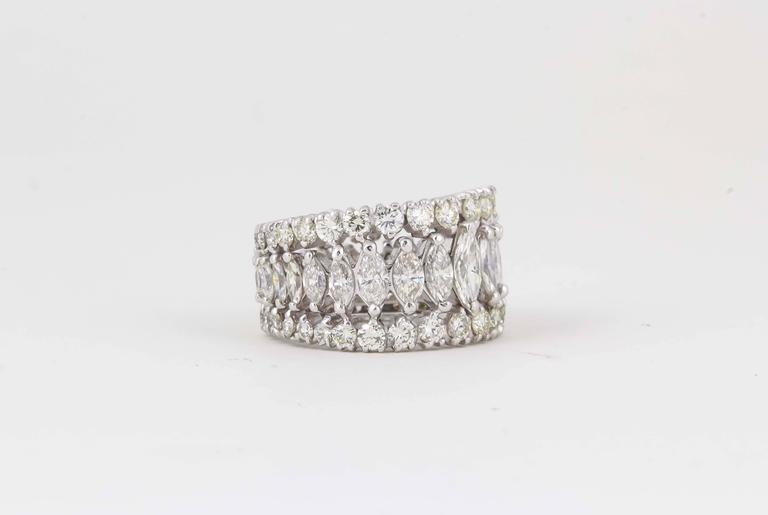 Marquise and Round Diamond Wide Graduated Eternity Band In New Condition For Sale In New York, NY