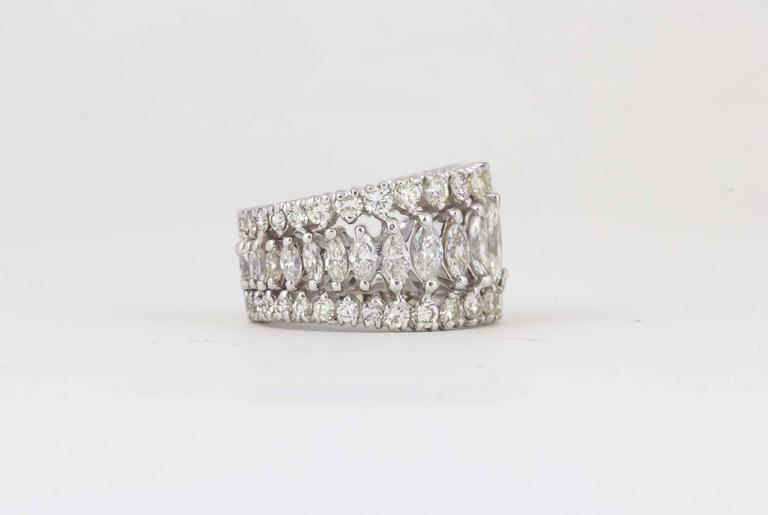Women's Marquise and Round Diamond Wide Graduated Eternity Band For Sale