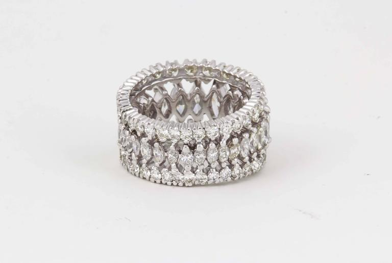 Marquise and Round Diamond Wide Graduated Eternity Band For Sale 1