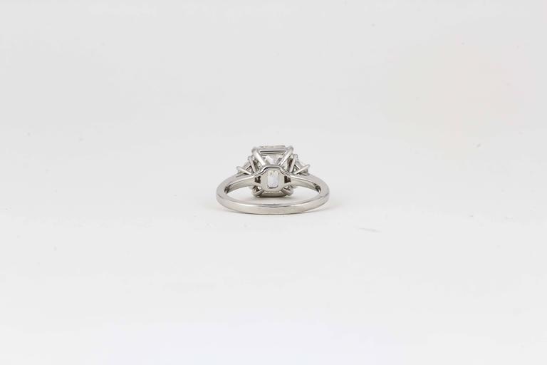 Women's 3 Carat GIA Radiant Cut Diamond Engagement Platinum Ring For Sale