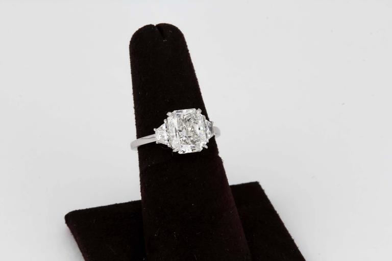3 Carat GIA Radiant Cut Diamond Engagement Platinum Ring For Sale 2