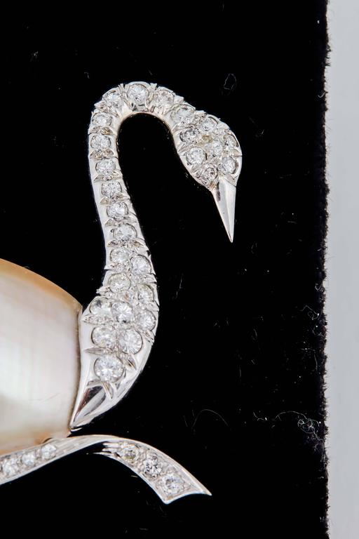 1940's Fantasy,Platinum & Diamond Figural Swan Brooch With Pearl Body 2