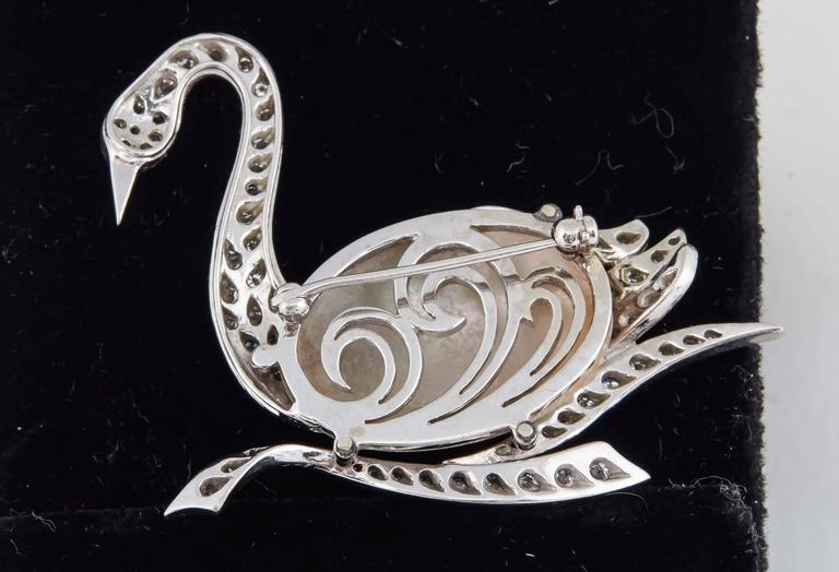 1940's Fantasy,Platinum & Diamond Figural Swan Brooch With Pearl Body 6