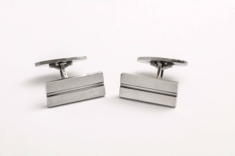 Georg Jensen Danish Art Deco Sterling Silver Cufflinks In New Condition For Sale In New York, NY