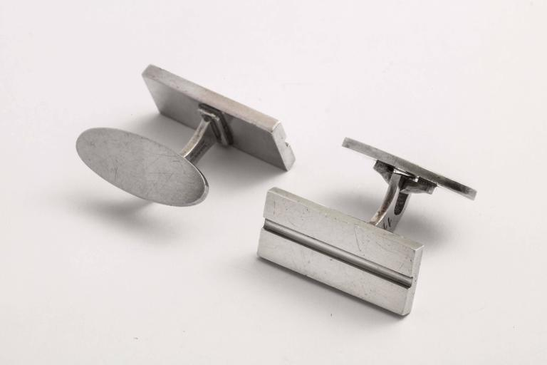 Men's Georg Jensen Danish Art Deco Sterling Silver Cufflinks For Sale