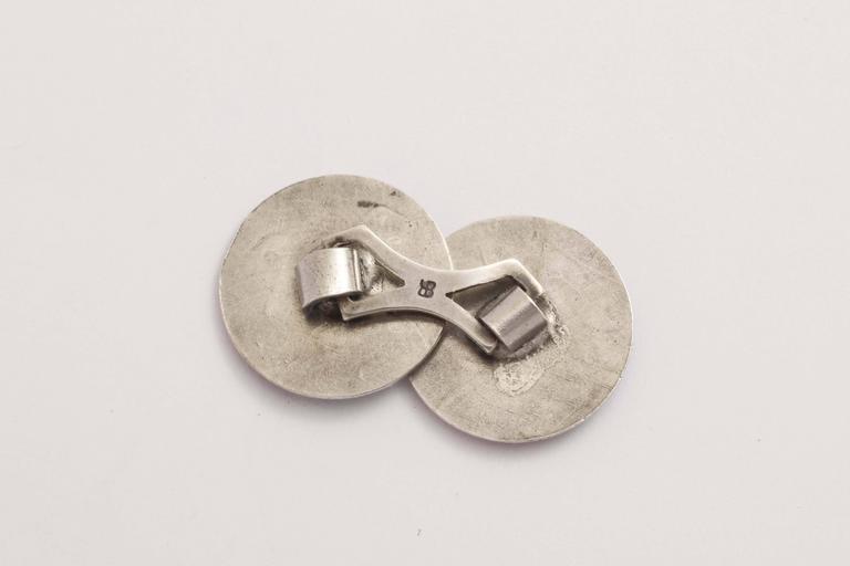 Men's Bassett Jewelry Co. Sterling Silver and Guilloche Enamel Cufflinks For Sale