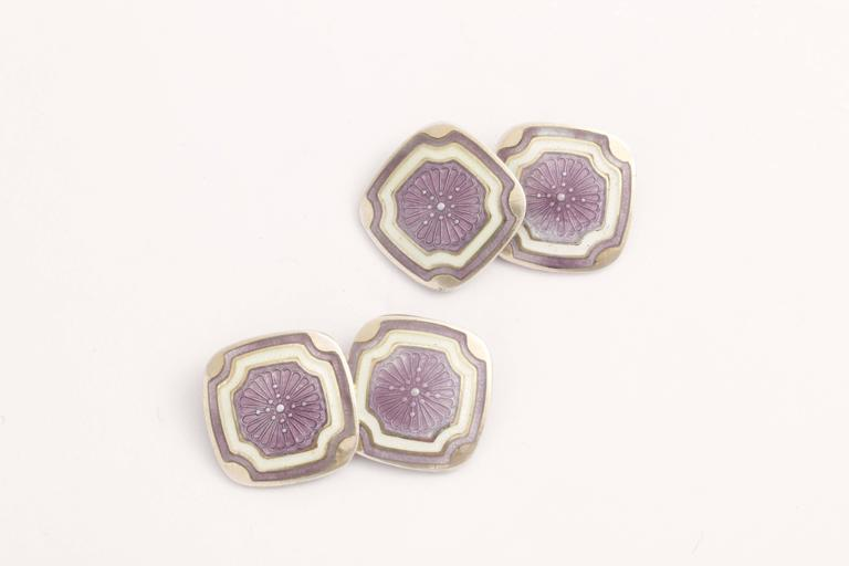 Square with rounded corners and purple central design surrounded by white & purple border. Impressed STERLING/ F & B.