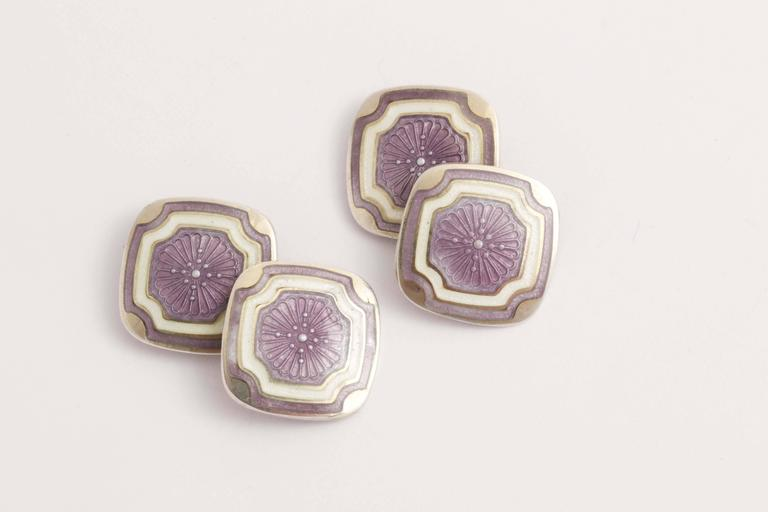 Foster & Bailey Co. American Art Deco Silver and Guilloche Enamel Cufflinks In New Condition For Sale In New York, NY
