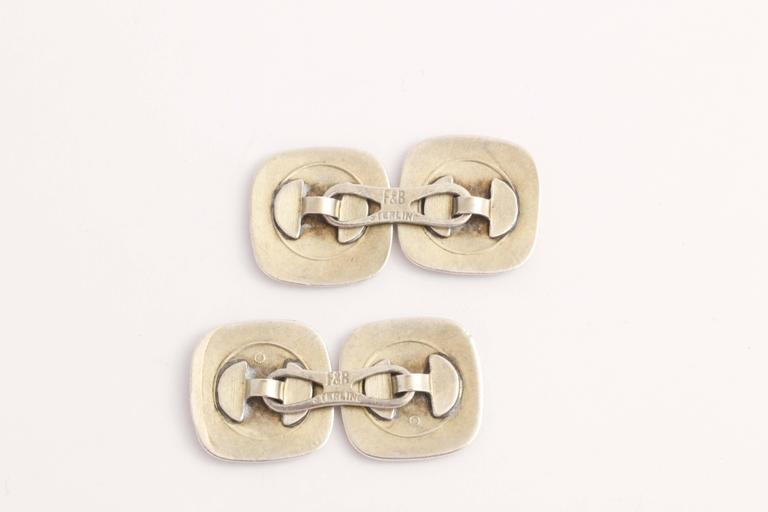 Men's Foster & Bailey Co. American Art Deco Silver and Guilloche Enamel Cufflinks For Sale
