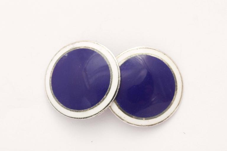 Foster & Bailey American Art Deco Sterling Silver and Guilloche Enamel Cufflinks For Sale 1