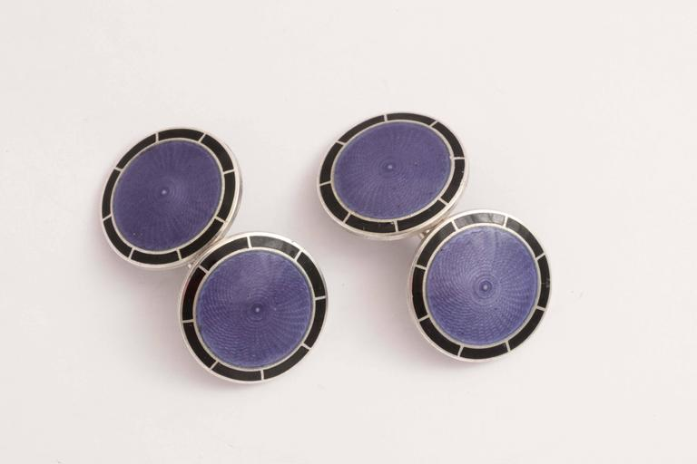 American Art Deco Sterling Silver and Guilloche Enamel Cufflinks For Sale 1