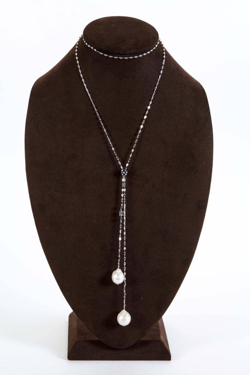 Baroque Pearl Black Diamond Gold Lariat Necklace For Sale