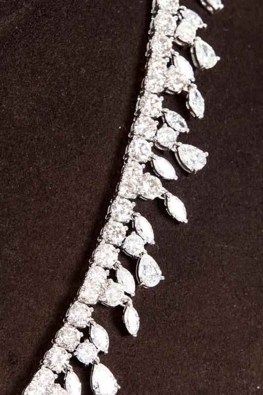 Multi Shape Diamonds Gold Drop Choker Necklace  In As New Condition For Sale In New York, NY