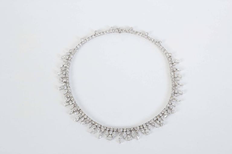 Women's Multi Shape Diamonds Gold Drop Choker Necklace  For Sale