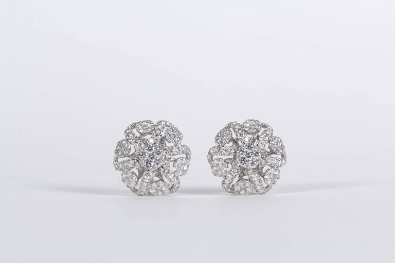 Diamond Scene 2.98 Carat Diamonds Gold Button Earrings For Sale 2
