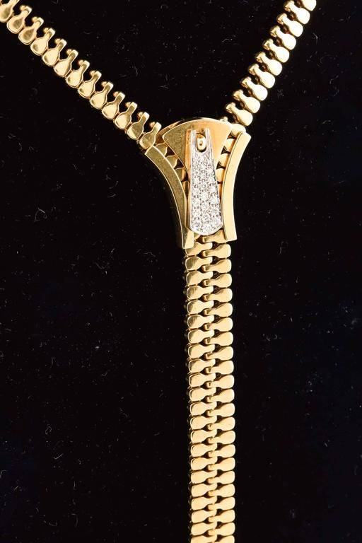 Diamond Gold Zipper Necklace For Sale At 1stdibs