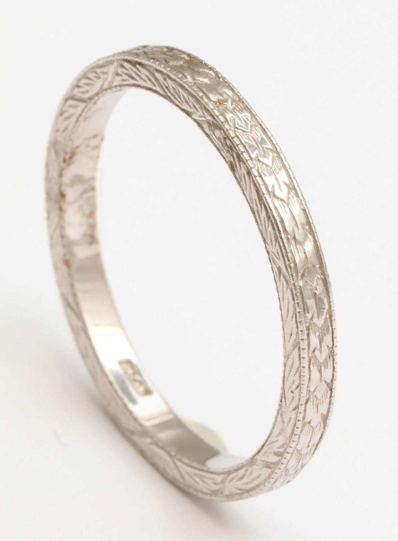 Hand Engraved Platinum Wedding Band For Sale At 1stdibs