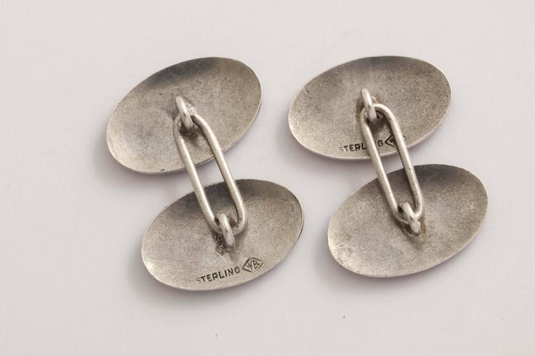 Men's Wachenheimer Bros American Art Deco Guilloche Enamel Sterling Silver  Cufflinks For Sale